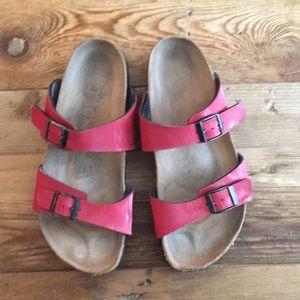 Birkenstock Papillio Red double buckle sandals